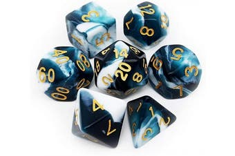(Teal White) - Haxtec Gemini DND Dice Polyhedral D & D Dice for Dungeons and Dragons Roleplaying Games