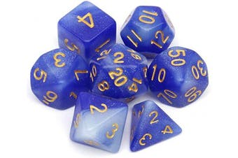 (Blue White Nebula) - Haxtec Nebula Glitter DND Dice Galaxy Polyhedral D & D Dice for Dungeons and Dragons Roleplaying Games