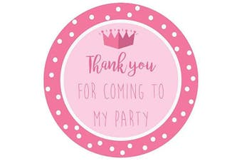 (Pink – Princess, 50) - Party Stickers for Sweet Bags – Cone Bags – Party Bags – Many Designs to Choose - 40mm