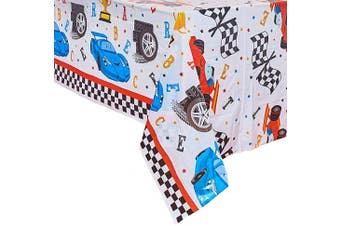 (1 Pack) - WERNNSAI Rectangular Racing Tablecloth - 132 x 220 cm Disposable Plastic Chequered Table Covers for Kids Birthday Game Sports Events Racing Car Party Supplies