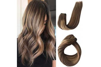 (41cm -100G, #4T4/27) - Sew in Human Hair Extensions Seamless Virgin Remy Hair Weave Bundles Sew in Weft Hair Double Weft Full Head Thick from Top to End Balayage Medium Brown with Strawberry Blonde Highlights 100g 41cm