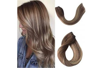 (46cm -100G, #4T4/24) - Highlights Sew in Weft Hair Extensions Human Hair Weave Bundles Virgin Real Remy Hair Extensions Bundles Natural Seamless Full Head Silky Straight Medium Brown with Honey Blonde Highlights 100g 46cm