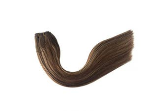 (50cm -100G, #4T4/27) - Virgin Remy Hair Weave Bundles Sew in Hair Extensions Human Hair Seamless Sew in Weft Hair Extensions for Women Full Head Straight Balayage Medium Brown with Strawberry Blonde Highlights 100g 50cm