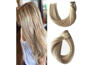 (60cm -120G, #18/60) - Sew in Hair Extensions Human Hair Weave Bundles Highlights Real Remy Hair Seamless Sew in Weft Hair Double Weft Full Head Beige Blonde with Platinum Blonde Highlights Straight Full Head 120g 60cm