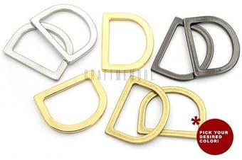 (2.5cm , Gold) - CRAFTMEMORE 1.9cm or 2.5cm Flat D-Rings Purse Loop Flat Metal D-Ring Findings for Bag Belt Strap Webbing Pack of 10 PTDH (2.5cm , Gold)