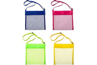 8 Pieces Colourful Mesh Beach Bags, Seashell Mesh Bags, Breathable Sea Shell Bags with Adjustable Carrying Straps