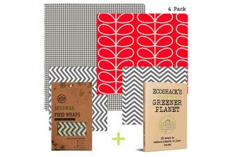 (Red/Grey, Small,Small,Medium,Large) - Beeswax Wrap | Eco Friendly Zero Waste Reusable Food Wax Wraps | Sustainable Plastic Free Food Storage with E-Book (Red/Grey, Small,Small,Medium,Large)