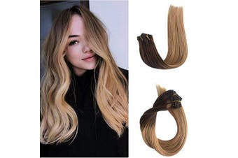 (46cm , #4T27A) - Clip in Remy Human Hair Extensions for Women Ombre Clip on Real Hair Extensions Medium Brown to Strawberry Blonde Double Weft Glueless Straight Ponytail Thick from Top to End 70g 7pcs 16 Clips 46cm