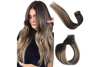 (60cm , #04T4/24) - Clip in Real Human Hair Extensions Remy Hair Extensions Clip on Ombre Balayage for Women Medium Brown with Honey Blonde Highlights Double Weft Silky Straight Glueless Natural 70g 7pcs 16 Clips 60cm