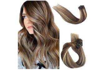 (46cm , #06T6/18) - Clip in Human Hair Extensions Blonde Highlights Real Remy Hair Extensions Clip on Double Weft Ombre Balayage for Black/White Women Chestnut Brown with Beige Blonde Highlights 70g 7pcs 16 Clips 46cm