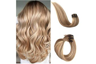 (38cm , #4T12/613) - Clip in Human Hair Extensions 613 Blonde Highlights Real Remy Hair Extensions for Women Ombre Balayage Medium Brown to Golden Brown with Bleach Blonde Highlights Double Weft 70g 7pcs 16 Clips 38cm