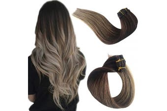 (38cm , #04T8A) - Clip in Real Remy Human Hair Extensions Clip on for Black/White Women Ombre Medium Brown to Ash Brown Double Weft 100% Brazilian Virgin Human Hair Silky Straight Glueless 70g 7pcs 16 Clips 38cm
