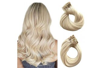 (36cm , #60 Platinum Blonde) - Clip in Hair Extensions Human Hair Platinum Blonde Real Remy Hair Extensions Clip on for Black Women 100% Brazilian Virgin Hair 120g Double Weft Full Head Straight Ponytail 7pcs 17 Clips 36cm