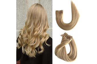 (50cm , #27 Strawberry Blonde) - Clip in Real Hair Extensions Remy Human Hair Extensions Clip on for Black Women Thicken Double Weft Full Head Long Silky Straight Natural Ponytail Wrap Strawberry Blonde 120g 7pcs 17 Clips 50cm