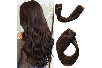(36cm , #2 Dark Brown) - Clip in Hair Extensions Human Hair Dark Brown Real Remy Hair extensions Clip on for Fashion Women 120g Thick Thicken Double Weft Full Head Natural Ponytail Soft Silky Straight 7pcs 17 Clips 36cm