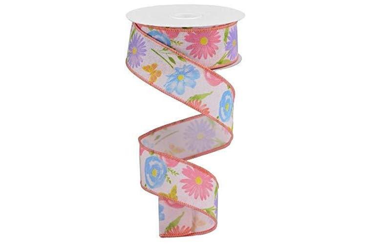 (3.8cm , Powder Pink, Green, Pink, Blue) - Wildflowers on Canvas Wired Edge Ribbon, 10 Yards (Powder Pink, Green, Pink, Blue, 3.8cm )