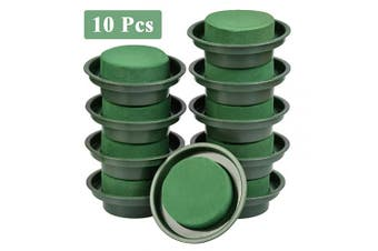 BUYGOO 10 Pcs Flower Arrangement Kit, Floral Foam Green Round Wet Foam Block for Flower Arranging Props, Wedding Party Decoration, Table Ornament, Florist Supplies