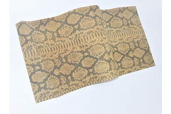 (18 x 24, Tan Snake Print Pig) - Genuine Pig Splits Hide Leather Skins, Various Prints Thick & Firm, Straight Rectangular Pre Cut, by ABE LEATHER (Tan Snake Print Pig, 18 x 24)