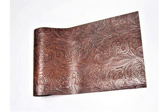(18 x 24, Brown Floral) - Genuine Cow Hide Top Grain Leather Skins, Various Prints Thick & Firm, Straight Rectangular Pre Cut, by ABE LEATHER (Brown Floral, 18 x 24)