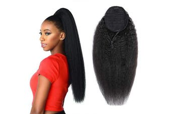 (50cm , Kinky Straight, Wrap Drawstring) - Alisfeel Kinky Straight Brazilian Human Hair Drawstring Ponytail Clip on Hair Extensions Natural Colour Remy Puff Ponytail Products 50cm 1B colour 110g Ponytails Hair Extensions (20, yaki)