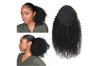 (36cm , Curly, Wrap Drawstring) - Afro Curly Human Hair Ponytail Extensions 36cm Short Cute Curly Wrap Drawstring Puff Ponytails Hairpieces for Women with Clips Remy Human Hair Ponytails Natural Colour (14, curly)