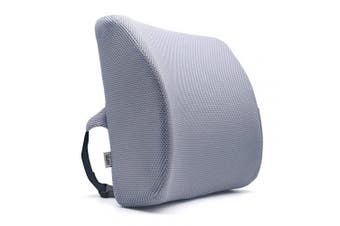 (Romantic-grey) - Valuetom Premium Lumbar Support Pillow - Memory Foam Lower Back Support Cushion for Your Home, Office Chair, and Car - New Ergonomic Memory Foam Design with Cool Mesh Fabric