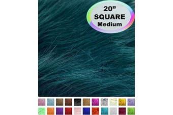 (50cm  X 50cm , Peacock) - Barcelonetta | Faux Fur Squares | Shaggy Fur Fabric Cuts, Patches | Craft, Costume, Camera Floor & Decoration (Peacock, 50cm X 50cm )