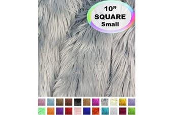 (25cm  X 25cm , Platinum Grey) - Barcelonetta | Faux Fur Squares | Shaggy Fur Fabric Cuts, Patches | Craft, Costume, Camera Floor & Decoration (Platinum Grey, 25cm X 25cm )