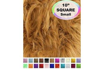 (25cm  X 25cm , Camel) - Barcelonetta | Faux Fur Squares | Shaggy Fur Fabric Cuts, Patches | Craft, Costume, Camera Floor & Decoration (Camel, 25cm X 25cm )