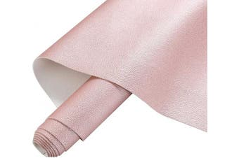(Rose Gold Roll) - AOUXSEEM Vivid Shiny Pearl Litchi Pattern Faux Leather Sheets for Earrings Bows Ornaments Making,Metallic Solid Colour PU Fabric Cotton Back 1mm Thickness【A4 Size/21cm x 30cm】 (Rose Gold Roll)