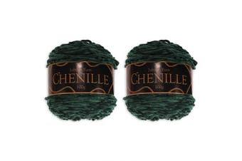 (2 Skeins, Emerald) - Chenille Yarn - Worsted Weight Yarn - 100g/skein - Emerald - 2 Skeins