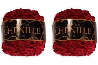 (2 Skeins, Blaze) - Chenille Yarn - Worsted Weight Yarn - 100g/skein - Blaze - 2 Skeins