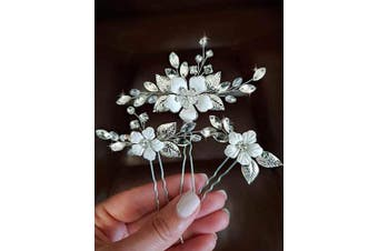 (Silver) - Asooll Wedding Hair Accessories for Women Flower Bride Hair Pins with Crystal Rhinestone Bridal Hair Accessories for Bride and Bridesmaid (Silver)