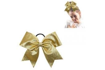 "(glitter gold) - CN 8"" Glitter Cheer bow Large Girls Ponytail Holders Sparkle Jumbo Bulk Band Cheerleader Sports Hair Accessories"