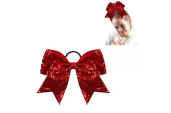 """(sequin red) - CN 8"""" Sequin Cheer bow Large Girls Ponytail Holders Sparkle Jumbo Bulk Band Cheerleader Sports Hair Accessories"""