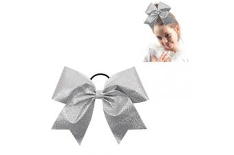 "(glitter sliver) - CN 8"" Glitter Cheer bow Large Girls Ponytail Holders Sparkle Jumbo Bulk Band Cheerleader Sports Hair Accessories"