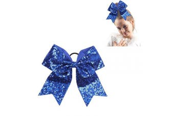 """(sequin blue) - CN 8"""" Sequin Cheer bow Large Girls Ponytail Holders Sparkle Jumbo Bulk Band Cheerleader Sports Hair Accessories"""