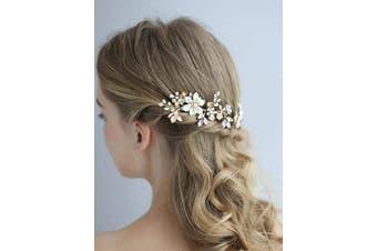 (Hair Pins) - AW BRIDAL Wedding Hair Pins Clips Flower Girl Wedding Hair Piece Rose Gold Floral Bridal Hair Combs Hair Accessories for Bride Bridesmaid