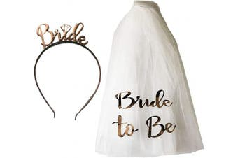 Blue Planet Fancy Dress Bride to Be Veil on Comb & Rose Gold Tiara Headband Hen Party Accessories