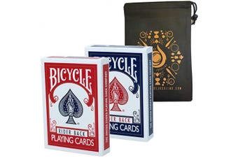 Bicycle Standard Rider Back Playing Cards - 2 Deck Set Red and Blue Plus Cascade Card Bag