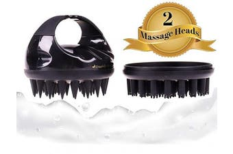 (Onyx Black) - Scalp Massaging Shampoo Brush (Convertible with 2 Silicone Heads). Relaxed & Natural HairCare. Stimulate Hair Growth. Exfoliate Dandruff. Clean. Gentle on Women, Men, Kids. Wet, Dry (Onyx Black)