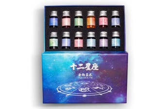 12 Colours Calligraphy Ink Set, Calligraphy Fountain Glass Dip Pen Colour Ink Caligrapher Pen Ink Bottle Set, Gold Powder Drawing Writing Art Ink with Gift Box