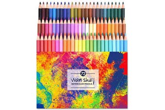 (72 watercolor pencil) - 72 Watercolour Pencils Set - Premium Artist Lead 72 Vibrant Colours No Duplicates Pre-sharpened Coloured Pencils Ideal for Colouring, Blending and Layering, Sketching, Crafting