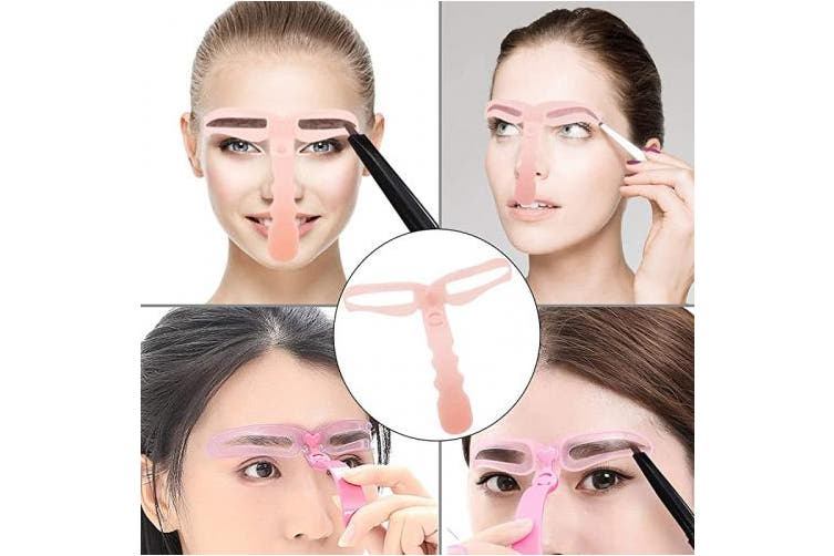 QY Pink 8 Styles Eyebrow Template Eyebrow Painting Stencil DIY Grooming Eyebrow Shaping Kit Tool for Beautiful You