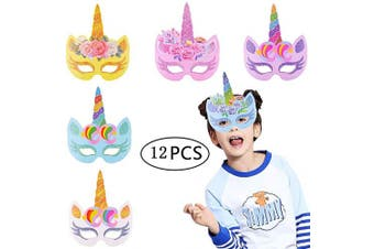 BESTZY 12 PCS Unicorn Paper Masks, Colour-In Masks with Elastic Rope for Kids Boys and Girl Birthday Party Favours, Halloween, Fancy Dress, Parties