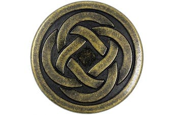 (Antique Brass) - Bezelry 12 Pieces Tiny Celtic Knot Metal Shank Buttons. 20mm (3/4 inch) (Antique Brass)
