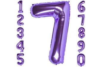 (Number 7) - CHANGZHONG 100cm Large Purple Number 7 Balloons,Foil Helium Digital Balloons for Birthday Anniversary Party Festival Decorations