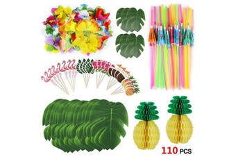 Howaf 111pcs Tropical Party Decorations Set, 20cm Pineapple Honeycomb, Umbrella Straws, Palm Leaves, Hibiscus Flowers and Cupcake Toppers For Hawaiian Luau Party Jungle Beach Summer Table Decorations