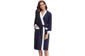 (S, Navy White) - Abollria Womens Dressing Gown Cotton Kimono Robe Ladies V-Neck Bathrobe Knit Nightwear for All Seasons
