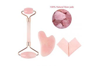 (rose quartz) - Face Roller-YeeTeching Jade Roller and Gua Sha Set for Face, Eye, Neck Beautiful Skin Detox-100% Natural Rose Quartz Roller Massager for Slimming & Firming (rose quartz)